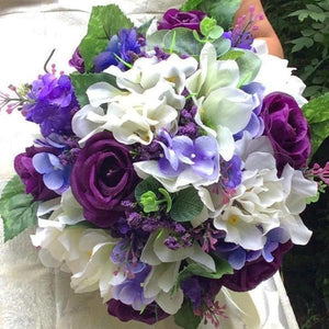 wedding bouquet, purple, ivory artificial silk flowers