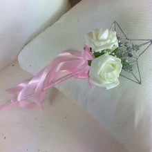 bridesmaids wedding wand with ivory foam roses