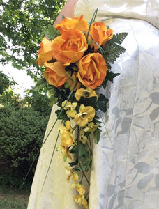 shower bouquet artificial silk orange rose yellow orchid flowers