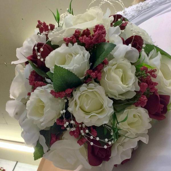 wedding posy bouquet of ivory artificial silk roses