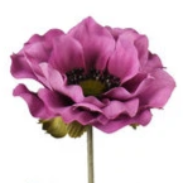an artificial plum anemone individual silk flower stem