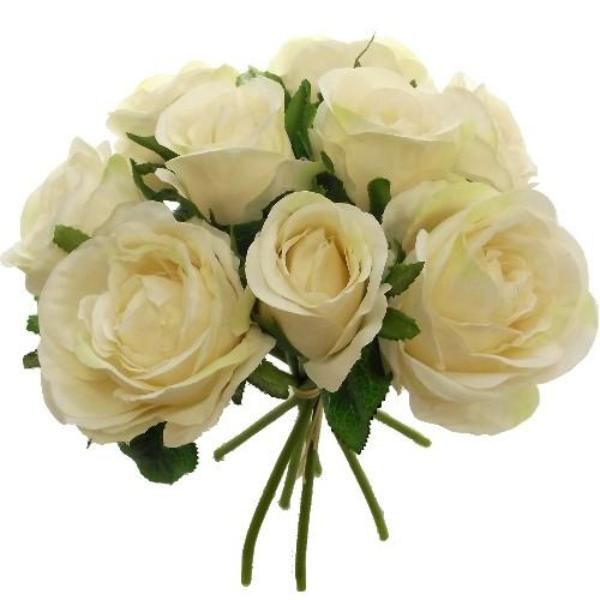 a bouquet of cream silk roses