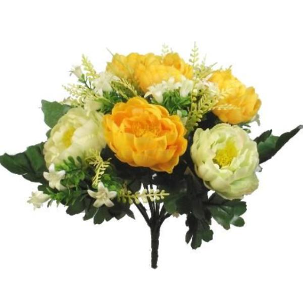 artificial yellow and ivory silk peonies