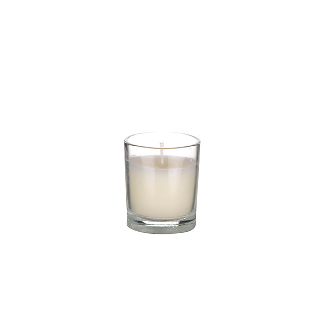 Set of 3 ivory candle filled glasses