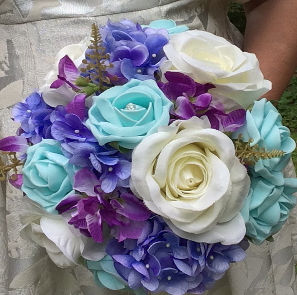 WEDDING BOUQUET of artificial ivory blue roses and hydrangea flowers