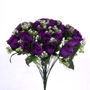 artificial silk purple rose bush