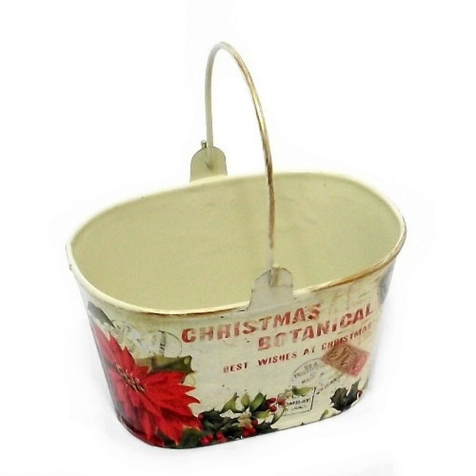 christmas metal basket with poinsettia decoration