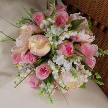 artificial silk wedding bouquet of pink roses,peony,lily of the valley flowers