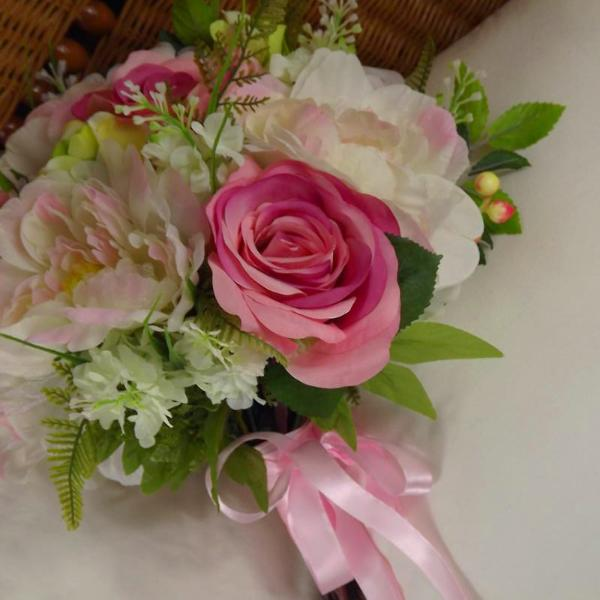 artificial wedding bouquet, cerise, peony, rose flowers
