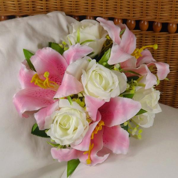 wedding bouquet, pink, ivory artificial silk lily, rose flowers