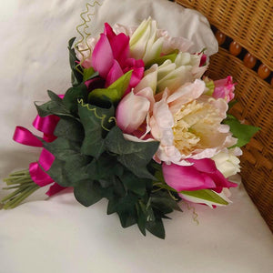brides bouquet artificial silk pink peony, tulips