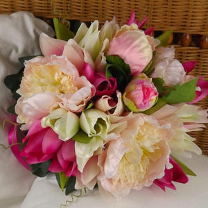 brides bouquet artificial silk pink peony tulip flowers