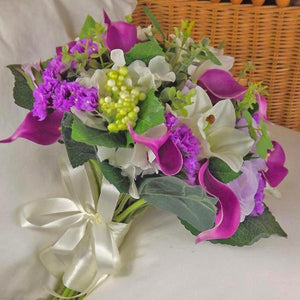 artificial wedding bouquet violet ivory roses calla lily hydrangea flowers