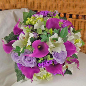 artificial wedding bouquet violet ivory roses lily hydrangea flowers
