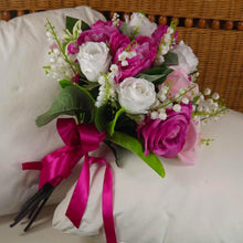 brides bouquet artificial silk pink, white roses, peony, lily of the valley