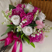 wedding bouquet, pink, white artificial silk flowers