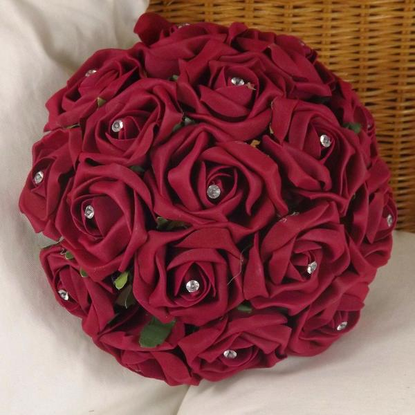 wedding bouquet, burgundy artificial foam rose flowers