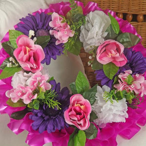 graveside memorial wreath arrangement silk flowers