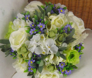 wedding bouquet of artificial silk ivory green lilac rose flowers