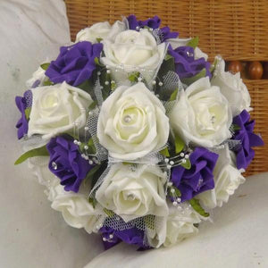 wedding bouquet artificial foam purple ivory roses flowers