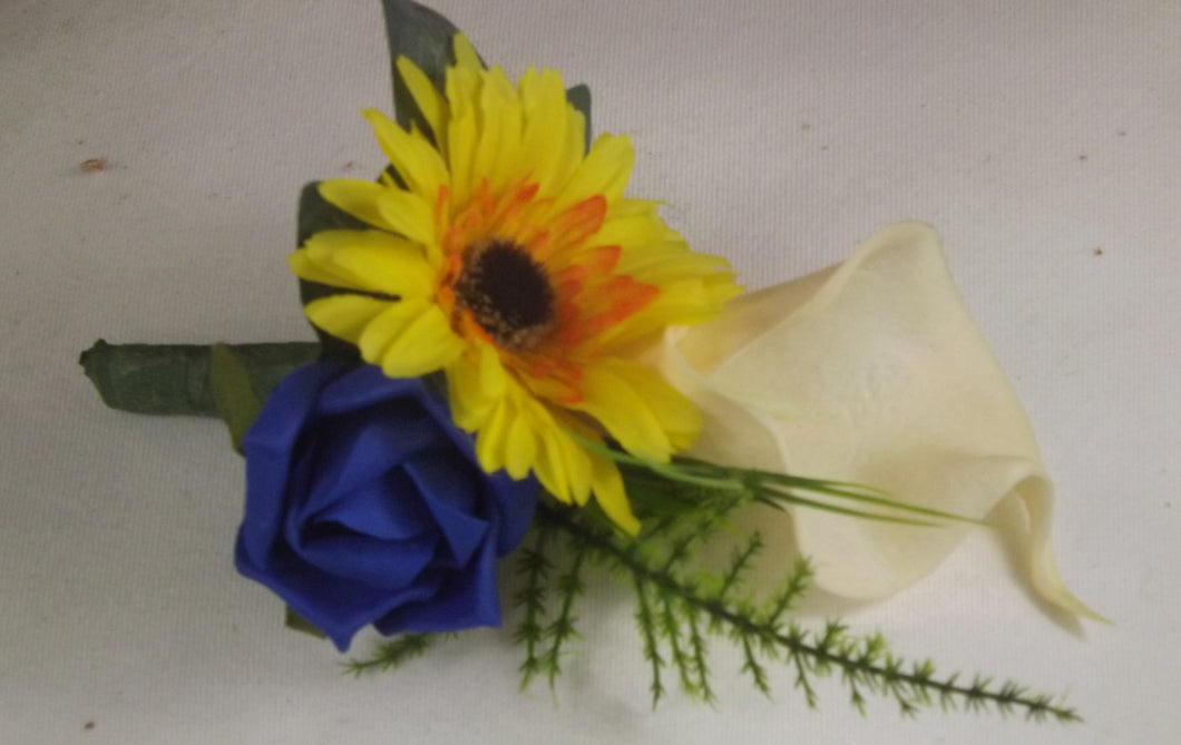 WEDDING CORSAGE- blue yellow and ivory rose calla lily and gerbera