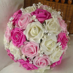 artificial wedding bouquet ivory cerise pink foam roses flowers