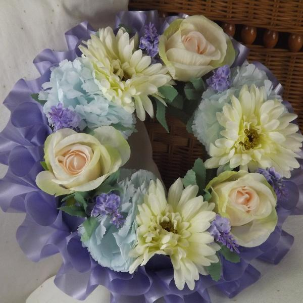 memorial artificial silk flower wreath blue pink
