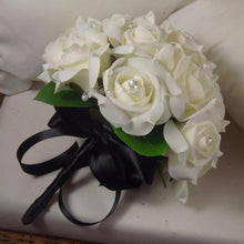 wedding posy bouquet of ivory foam roses with diamante centres