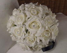 LAST ONE - a brides bouquet of ivory artificial foam roses with diamante and pearls