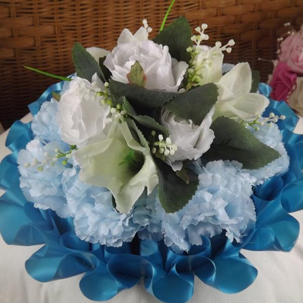 memorial artificial silk based posy white blue