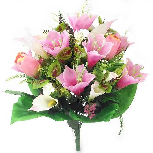artificial silk pink flower bush
