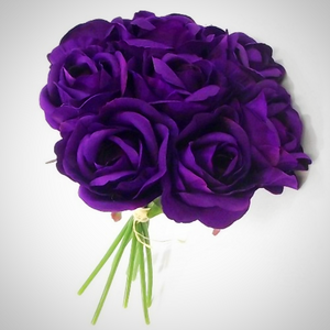 a bouquet of purple silk rose flowers - 9 individual stems
