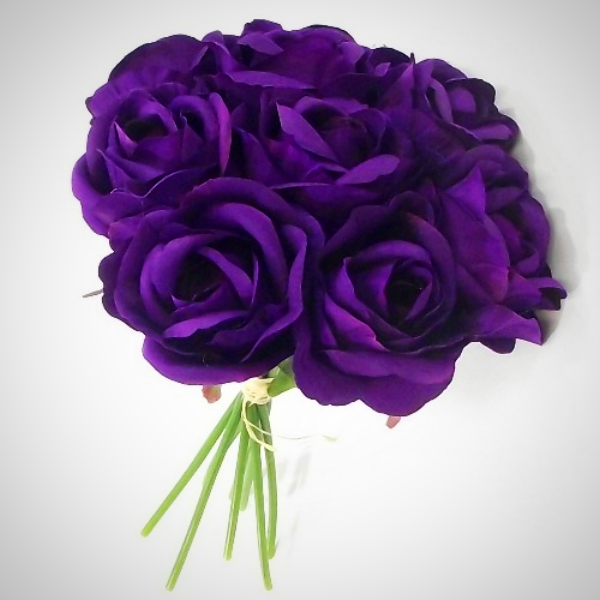 a bunch of artificial silk rose flowers - purple