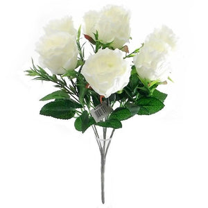 bush of artificial ivory roses