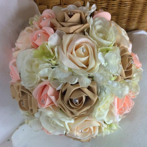 wedding bouquet, peach, ivory artificial foam roses and hydrangea flowers