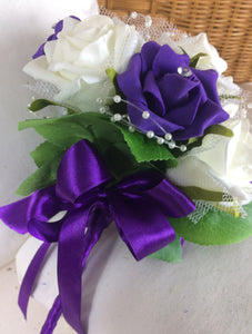 wedding bouquet, purple, ivory artificial foam roses flowers