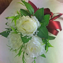 artificial wedding bouquet ivory roses flowers and pearl loops