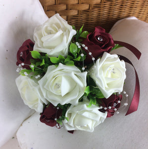 artificial wedding bouquet ivory burgundy foam roses flowers