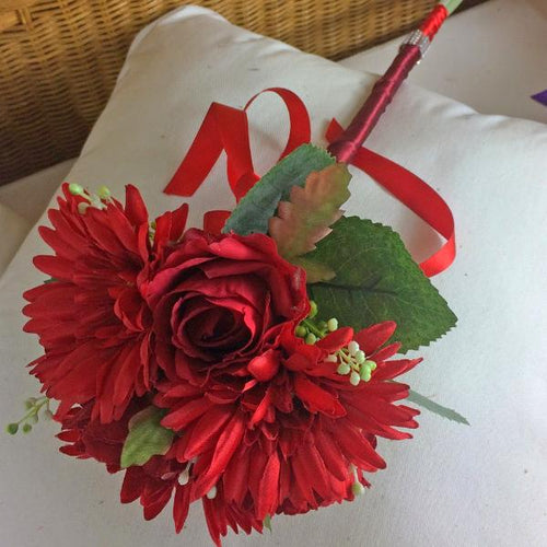 artificial silk wedding bouquet red rose gerbera flowers