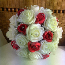 artificial wedding bouquet ivory red foam roses flowers