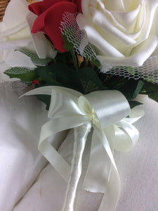 - WEDDING BOUQUET of artificial ivory & red  foam roses diamante centres & pearl loops