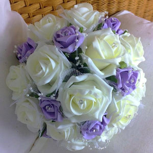 wedding bouquet of ivory lilac artificial foam roses