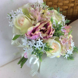 wedding posy bouquet of pink artificial silk roses flowers