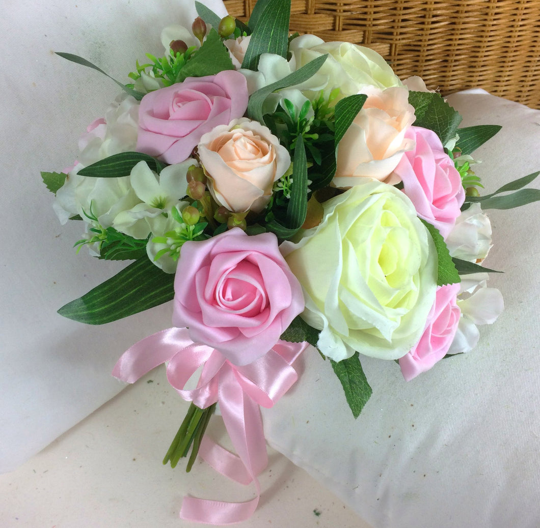 wedding bouquet, pink, peach, ivory artificial rose flowers