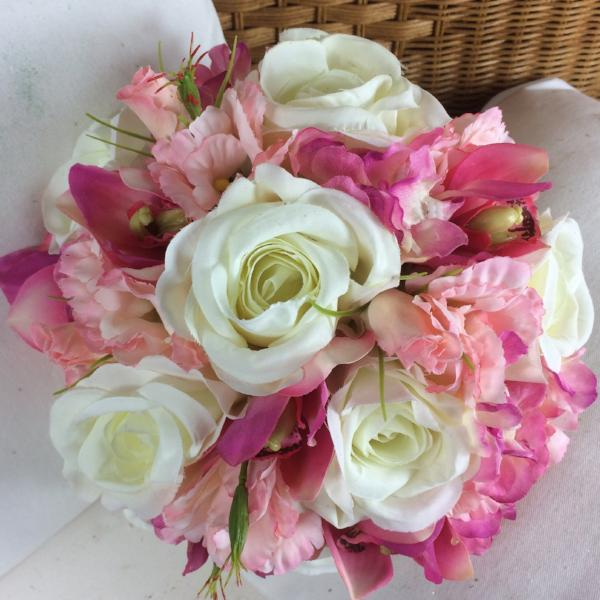 wedding bouquet, pink, ivory artificial silk flowers