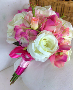 WEDDING BOUQUET of ivory rose, astromeria, lisanthus artificial silk flowers