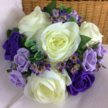 wedding posy bouquet of ivory lilac purple foam silk roses