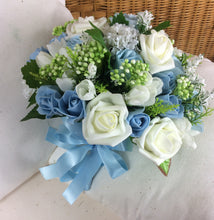 artificial wedding bouquet ivory blue rose flowers