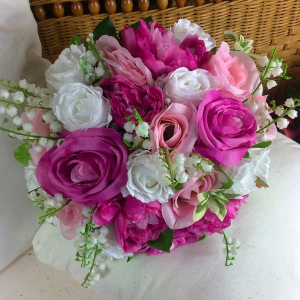 brides bouquet, pink, white artificial silk flowers