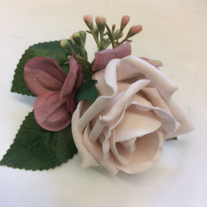 dusky pink rose and hydrangea buttonhole